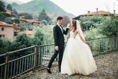 反对山的背景的婚姻的夫妇跳舞 库存照片