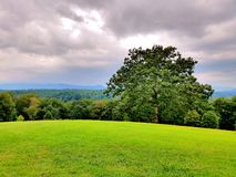 反对山的绿色领域 免版税库存图片
