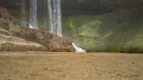 反对强有力的瀑布的巨大的棕色冰砾 影视素材