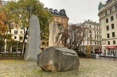 反对战争和法西斯主义-维也纳,奥地利的纪念品 免版税库存图片