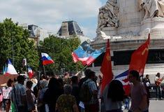 反对战争的抗议显示在乌克兰 免版税库存图片