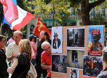 反对战争的抗议显示在乌克兰 免版税图库摄影