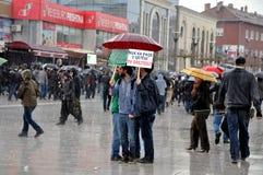 反对抗议在普里什蒂纳,科索沃 库存照片