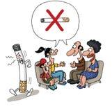 反对抽烟的家庭会议 免版税库存照片
