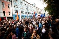 反对拒付集会的支持者集合 免版税库存图片