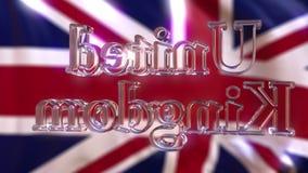 反对挥动英国旗子的转动的玻璃英国说明 影视素材