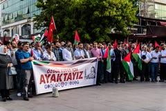 反对支持巴勒斯坦的以色列的抗议在土耳其 库存照片