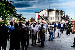 反对支持巴勒斯坦的以色列的抗议在土耳其 免版税库存图片