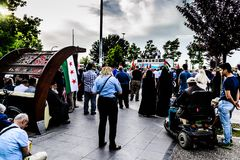 反对支持巴勒斯坦的以色列的抗议在土耳其 免版税库存照片