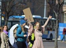 反对政府不活动的抗议在气候变化,赫尔辛基,芬兰 库存照片
