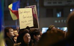 反对政府特赦法律的抗议在罗马尼亚 免版税库存图片