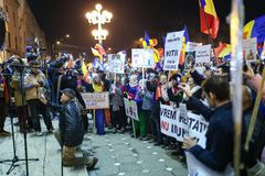 反对政府特赦法律的抗议在罗马尼亚 库存照片