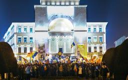 反对政府特赦法律的抗议在罗马尼亚 免版税图库摄影