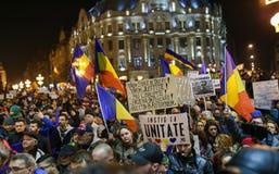 反对政府特赦法律的抗议在罗马尼亚 免版税库存照片