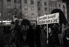 反对政府特赦法律的抗议在罗马尼亚 图库摄影