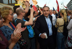 反对政府的抗议在波兰 免版税库存照片