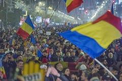 反对政府的罗马尼亚人抗议 免版税图库摄影