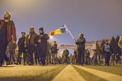 反对政府的罗马尼亚人抗议 库存图片