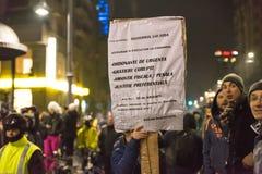 反对政府的罗马尼亚人抗议 免版税库存图片
