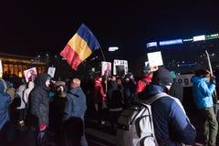 反对政府的罗马尼亚人抗议 免版税库存照片