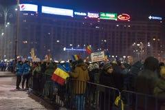 反对政府的罗马尼亚人抗议 库存照片