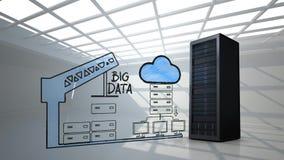 反对数据服务器、起重机和云彩凹道的真正的数据服务器  皇族释放例证