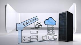 反对数据服务器、起重机和云彩凹道的真正的数据服务器  库存例证