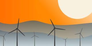 反对日落的风力场 库存照片