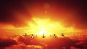 反对日落的直升机 向量例证