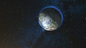 反对星天空的现实地球行星 免版税库存图片