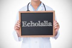 反对显示一点黑板的医生的Echolalia 免版税库存照片