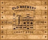 反对木板条的啤酒厂大厦 向量例证