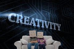 反对未来派黑和蓝色背景的创造性 免版税库存照片