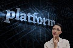 反对未来派黑和蓝色背景的平台 免版税库存图片