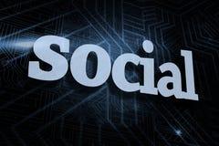 反对未来派黑和蓝色背景的社交 免版税库存照片