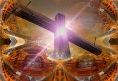 反对未来派背景的木十字架 库存图片
