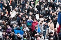 反对查理Hebdo杂志恐怖主义攻击的3月,对2015年1月7日,在巴黎 图库摄影