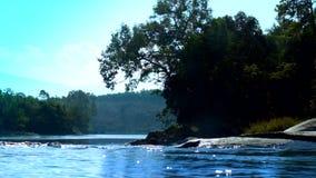 反对树剪影和遥远的森林的蓝色河奔跑 影视素材