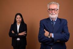 反对棕色背景的成熟不同种族的企业夫妇 库存图片