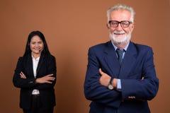 反对棕色背景的成熟不同种族的企业夫妇 库存照片