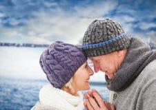 反对模糊的领域的年长夫妇与雪 库存图片