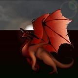 反对灰色天空的红色龙 免版税图库摄影