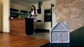 反对烹调在现代厨房里的亭亭玉立的少妇的家庭形状 免版税库存照片