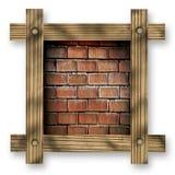 反对白色背景的布朗木制框架与红砖墙壁,拷贝空间在中心 库存图片