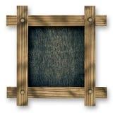 反对白色背景的老木制框架与黑木拷贝空间在中心 库存照片