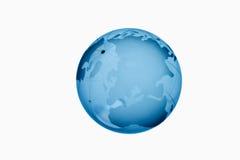 反对白色背景的蓝色玻璃地球 库存图片