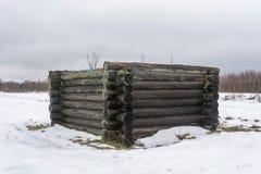 反对白色雪的老日志墙壁 库存图片