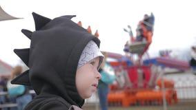 反对的小男孩在游乐场弗累斯大转轮 影视素材