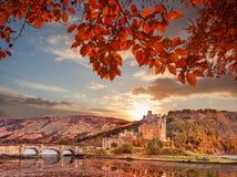 反对秋叶的爱莲・朵娜城堡在苏格兰的高地 图库摄影