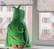 反对窗口的孩子 库存图片
